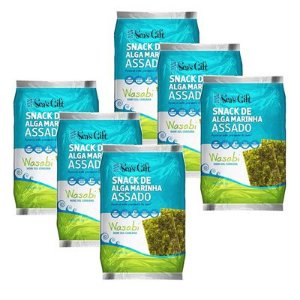 Kit Snack de Alga Marinha Assado – Wasabi - Sea´s Gift  6 unidades