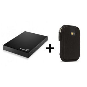 Kit HD Externo Expansion USB 3.0 1TB Preto Seagate + Case para HD Portátil EHDC101 Preto Case Logic