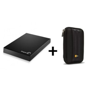 Kit HD Externo Expansion USB 3.0 1TB Preto Seagate + Case para HD Portátil QHDC101 Preto Case Logic