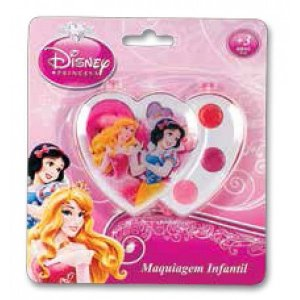 Estojo De Maquiagem Duplo Coração Cristal Princesas - Beauty Brinq