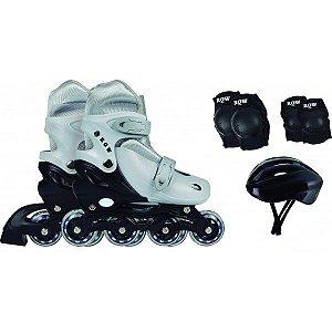 Kit Roller Infantil (Joelheira, Capacete e Cotoveleira) Cinza Tamanho M (35-38) - Mor