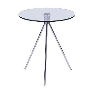 Mesa Tripé Redonda de Vidro Transparente - Or Design