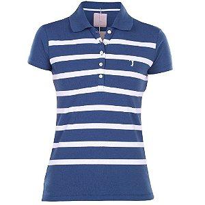 Polo Aleatory Feminina Listrada Azul e Branco