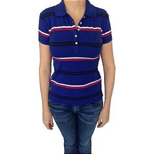 Polo Aleatory Feminina Listrada Azul