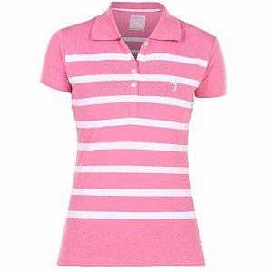 Polo Aleatory Feminina Listrada Rosa e Branco