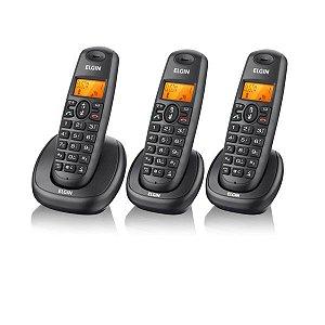Telefone Sem Fio Elgin 1.9 Ghz DECT 6.0 c/ Identificador de Chamadas, Viva-Voz + 2 Ramais Preto TSF-7003