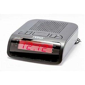 Rádio Relógio Digital AM/FM com 2 alarmes preta NRC-174 Naxa
