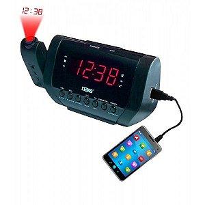 Rádio-relógio digital com projetor de horas e carregador USB preta - NRC-167 - Naxa