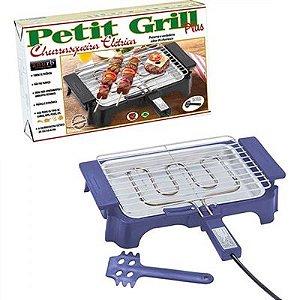Churrasqueira Elétrica Anurb Petit Grill Plus c/ Grelha Removível e Espátula p/ Limpeza Azul 220v