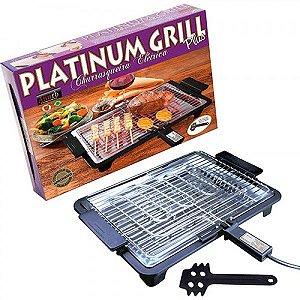 Churrasqueira Elétrica Anurb Platinum Grill com Grelha Removível e Espátula para Limpeza Preto 220v