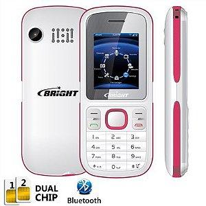 Celular One Dual Chip c/câmera, Rádio FM, Bluetooth, Branco e Rosa 0406 - Bright