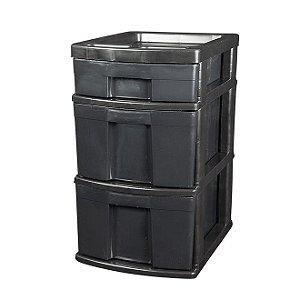 Gaveteiro Reciclado com 1 Gaveta Pequena e 2 Gavetas Grandes (Sem Rodas) Preto - Multbox