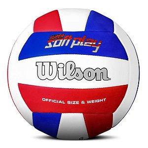 Bola de Vôlei Wilson Super Soft Play Azul Vermelho e Branco