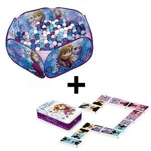 Kit Piscina de Bolinhas Frozen Zippy Toys + Jogo de Dominó Frozen Disney - Toyng
