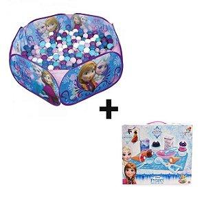 Kit Piscina de Bolinhas Frozen Zippy Toys + Jogo de Comidinhas Sorveteria Frozen - Toyng