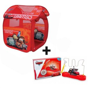 Kit Barraca Portátil Carros GF001B Zippy Toys + Labirinto Sonoro Carros Disney - Toyng