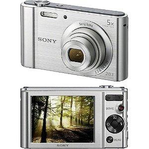 Câmera Digital Sony Cyber-Shot DSC-W800 20.1MP, Vídeos em HD, LCD de 2,7'', Zoom óptico de 5X Prata