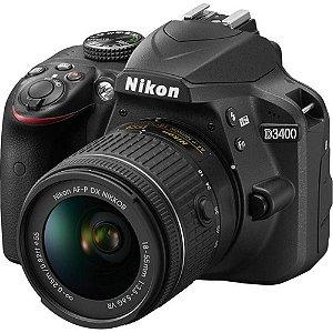 Câmera Digital Nikon DSLR D3400 com Lente AF-P DX de 18-55MM VR