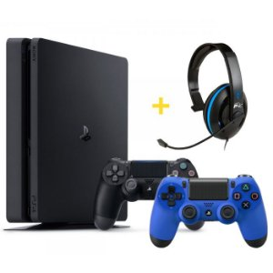 Console Playstation 4 Slim 500GB com 2 Controles + Headset Ear Force P4C com Microfone - Turtle Beach