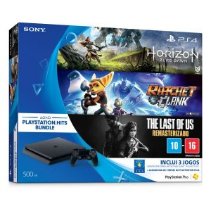 Console Sony Playstation 4 500Gb Slim Bundle Hits (Horizon Zero Dawn, Ratchet & Clank e The Last Of Us) - Sony Brasil
