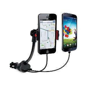 Suporte para Smartphones com carregador duplo veicular via USB - ISOUND5471 - iSound
