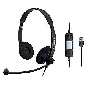 Headset profissional com 2 conchas, microfone, controle e conexão USB - SC60USB - Sennheiser