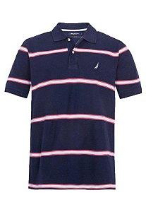 Camisa Polo Nautica Azul e Branco e Vermelha