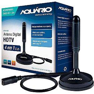 Antena Interna Aquário, VHF, UHF, FM e HDTV Digital - DTV-100
