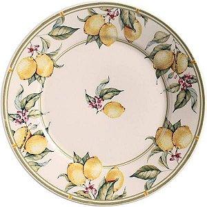 Conjunto de Pratos Rasos com 06 Peças em Cerâmica Monaco Limone