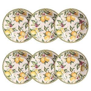 Conjunto de Pratos de Sobremesa com 06 Peças em Cerâmica Monaco Limone