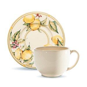 Conjunto de Xicaras de Cha com 06 Peças em Cerâmica Monaco Limone