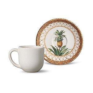 Conjunto de Xicaras de Cafe com 06 Peças em Cerâmica Coup Pineapple
