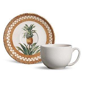 Conjunto de Xicaras de Cha com 06 Peças em Cerâmica Coup Pineapple