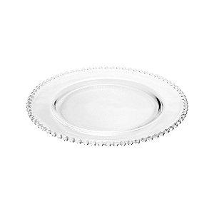 Sousplat em Cristal Pearl Clear 31,5cm