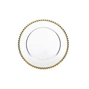 Sousplat em Cristal Pearl Gold 31,5cm - Un