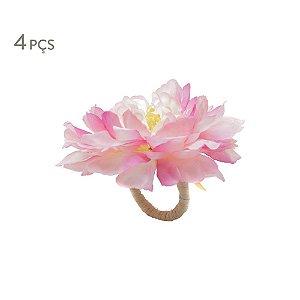Conjunto 4 Porta Guardanapos Flor de Viuva Rosa