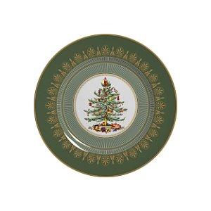 Conjunto de Pratos de Sobremesa com 06 Peças em Cerâmica Plissan Rendado Verde
