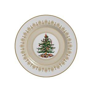 Conjunto de Pratos de Sobremesa com 06 Peças em Cerâmica Plissan Rendado Dourado
