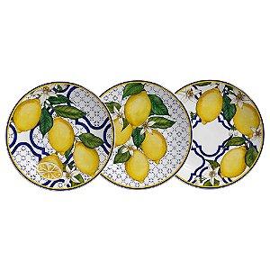 Conjunto de Pratos de Sobremesa com 06 Peças em Cerâmica Sicilia (2 pratos de cada)