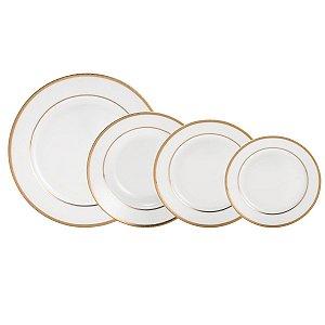 Aparelho de Jantar 30 Peças de Porcelana Alto Relevo Gold