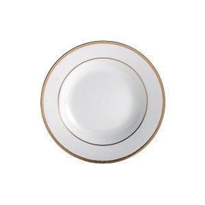 Conjunto de Pratos Fundos com 6 Peças em Porcelana 20,5cm Gold Alto Relevo