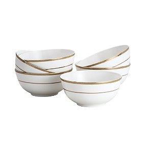 Bowl Gold Alto Relevo em Porcelana Conjunto de 6 Unidadaes - 630 ml