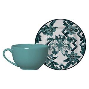 Conjunto de Xicaras de Cha com 06 Peças em Cerâmica Chines Verde