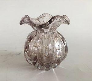 Vaso de Vidro Italy Rosa Claro E Dourado 11,5x13cm