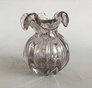 Vaso de Vidro Italy Rosa Claro E Dourado 13x17cm