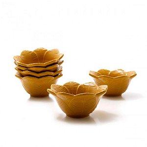 Conjunto de Bowls com 6 Peças em Cerâmica Leaves Curry - 372ml