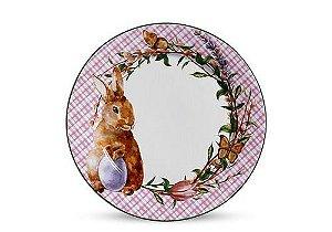 Conjunto de Pratos Rasos com 06 Peças em Cerâmica Bunny Rosa