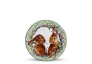 Conjunto de Pratos de Sobremesa com 06 Peças em Cerâmica Bunny Verde
