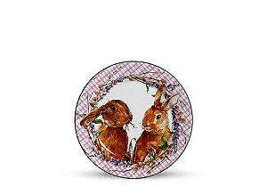 Conjunto de Pratos de Sobremesa com 06 Peças em Cerâmica Bunny Rosa
