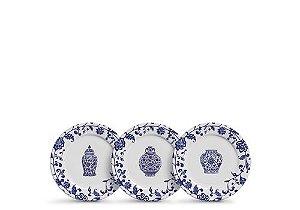 Conjunto de Pratos de Sobremesa com 06 Peças em Cerâmica La Chinoise